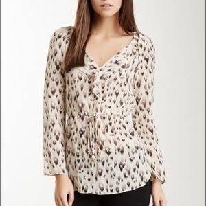 Rebecca Taylor leopard ruffle silk blouse